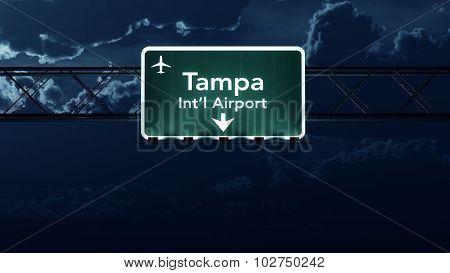 Tampa Usa Airport Highway Sign At Night
