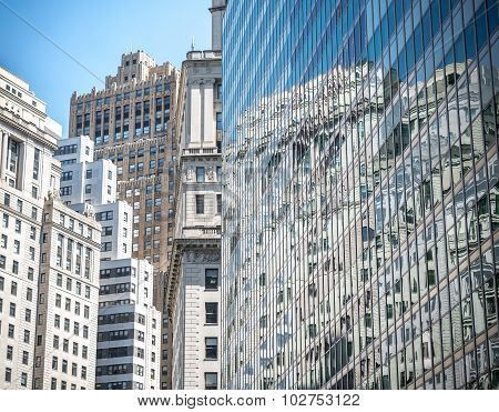 Facades of houses in the financial center Manhattan in NYC