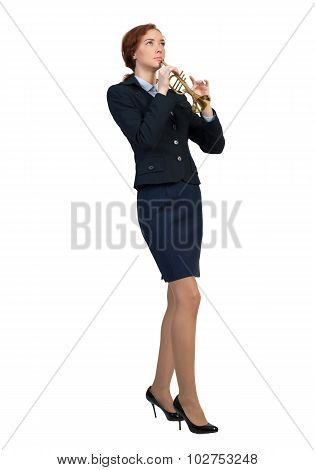 Businesswoman play fife