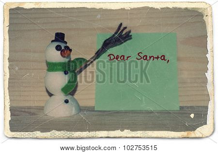 Old photo paper with letter for Santa