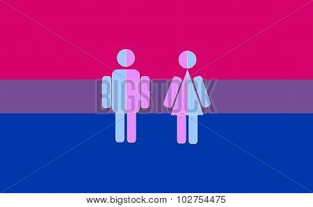 Bisexual Pride Vector Flag With People Icons