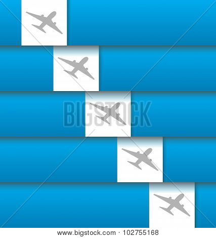 Set of labels with airplanes for aviation company