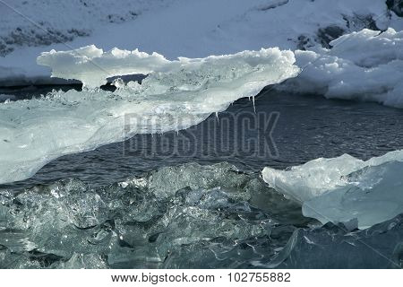 Ice Blocks Melting At Glacier Lagoon Jokulsarlon, Iceland
