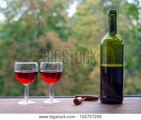 . Two wine glasses and bottle