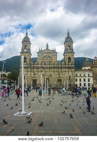 Plaza De Armas At Historic Center In Bogota Colombia