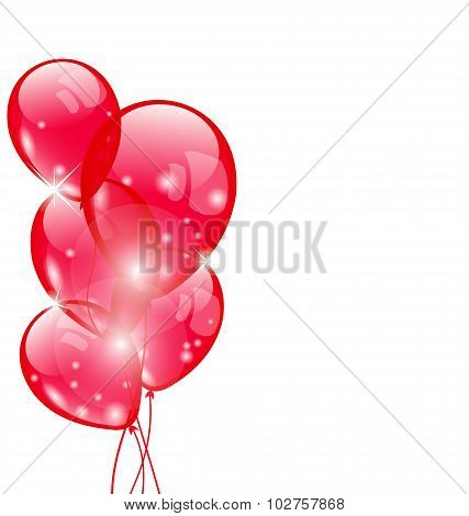 Flying red balloons isolated on white background