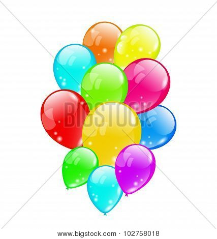 Bunch colorful balloons isolated on white background