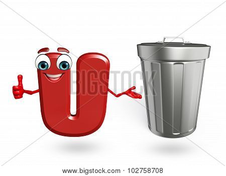 Cartoon Character Of Alphabet U With Dustbin