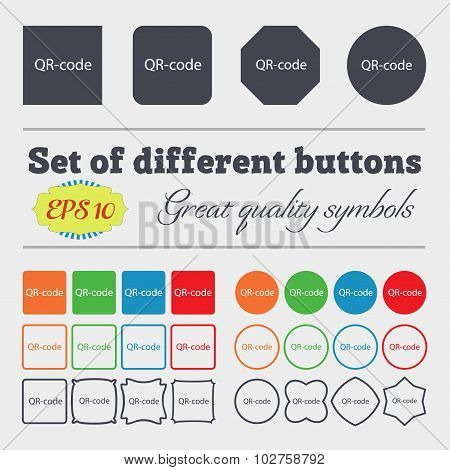 Qr-code Sign Icon. Scan Code Symbol. Big Set Of Colorful, Diverse, High-quality Buttons. Vector