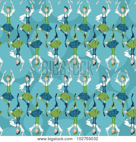 Dancing Scottish Girls In National Clothes. Scottish Highland Dancing. Seamless Background Pattern.