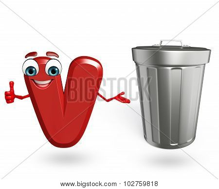Cartoon Character Of Alphabet V With Dustbin