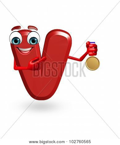 Cartoon Character Of Alphabet V With Medal