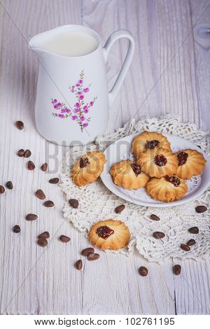 Jug With Milk And Cookie