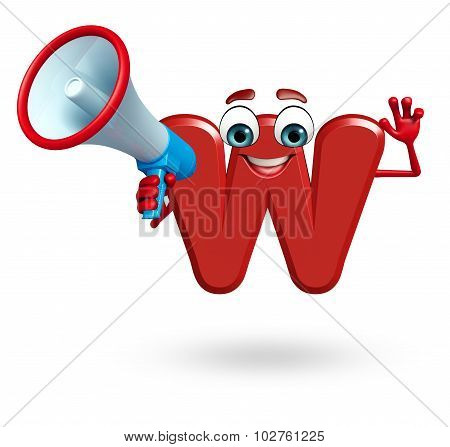 Cartoon Character Of Alphabet W With Loudspeaker