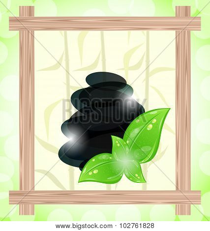 Illustration meditative bamboo background with cairn stones and