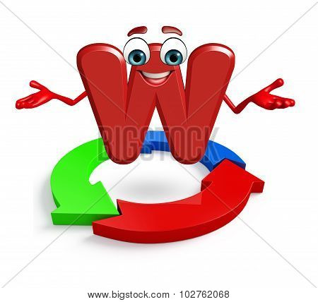Cartoon Character Of Alphabet W With Arrow