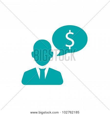 Businessman Talk About Money Icon
