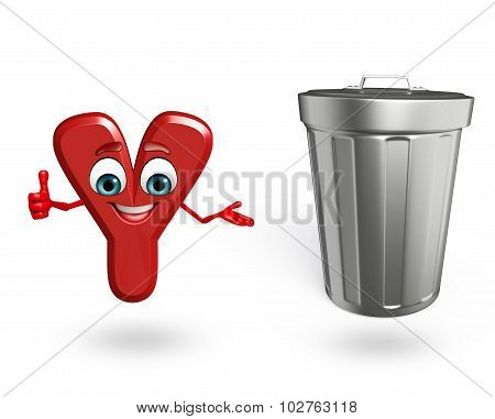 Cartoon Character Of Alphabet Y With Dustbin