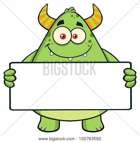 Smiling Horned Green Monster