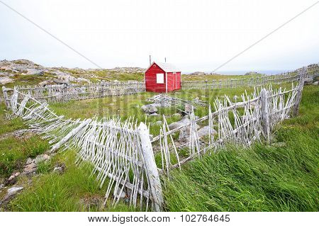 Newfoundland Scenic, Red House, Stick Fence