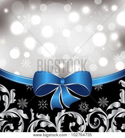 Christmas floral background, ornamental design elements