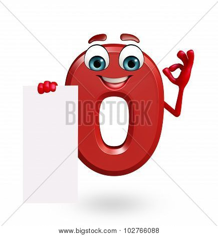 Cartoon Character Of Zero Digit With Sign