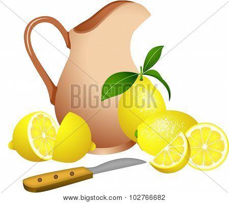 Clay jug with lemons