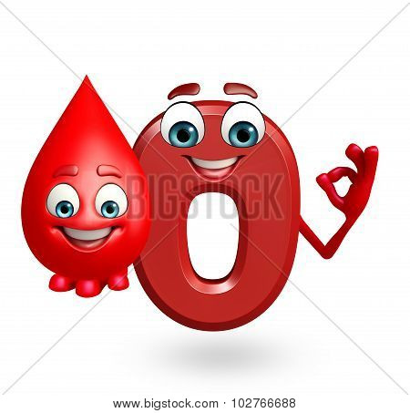 Cartoon Character Of Zero Digit With Blood Drop