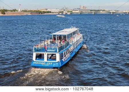 River Cruise Ship Sailing On The River Neva In St. Petersburg, Russia