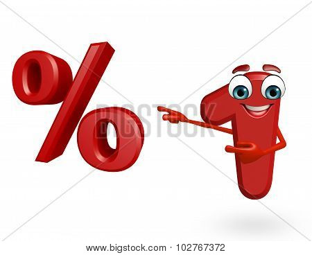 Cartoon Character Of One Digit With Percentage Sign
