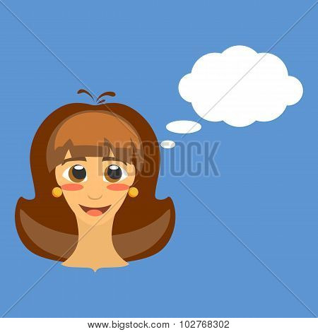 Frontal Head Of Cute Joyful Young Brunette Girl With Brown Eyes And Thinking Bubble. The Expression