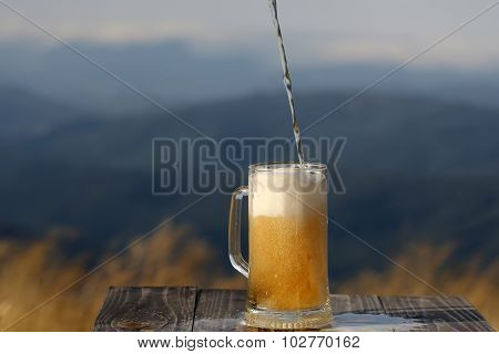 Pouring Lager Beer