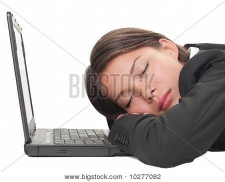 Powernap Woman Sleeping On Laptop