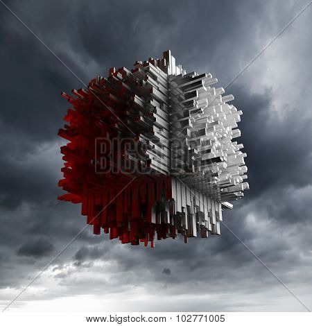 Abstract Flying Cube Object With Chaotic Surface