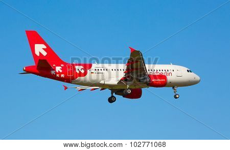 ZURICH - JULY 18: Airbus A-319 Air Berlin landing in Zurich airport on July 18, 2015 in Zurich, Switzerland. Zurich airport is home port for Swiss Air and one of the biggest european hubs.