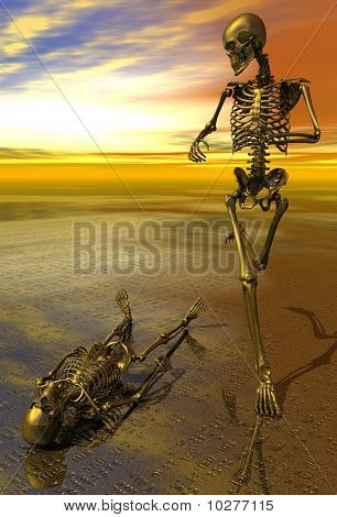 Surreal Skeleton Jogging Past Prone Skeleton With Sunset