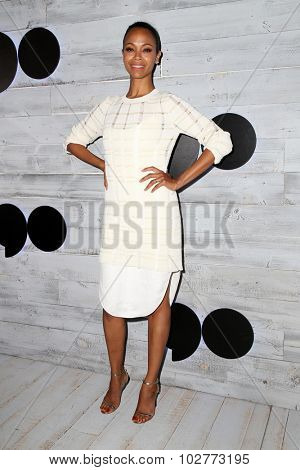 LOS ANGELES - SEP 24:  Zoe Saldana at the VIP Sneak Peek Of go90 Social Entertainment Platform at the Wallis Annenberg Center for the Performing Arts on September 24, 2015 in Los Angeles, CA