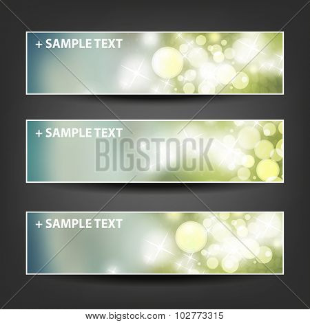 Set of Horizontal Banner / Cover Background Designs - Colors: Grey, Green, White - Party, Christmas, New Year or Other Holiday Ad Banner Templates