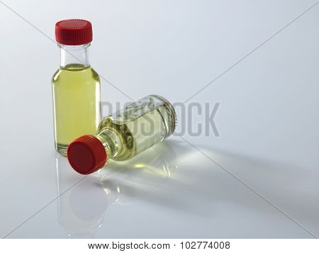 bottles of food coloring on the white background
