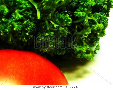 Part Red Tomato With Part Little Bundle Curly Parsley