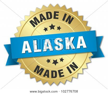 Made In Alaska Gold Badge With Blue Ribbon