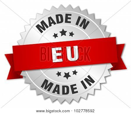 Made In Eu Silver Badge With Red Ribbon