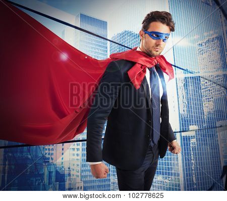 Confident worker superhero