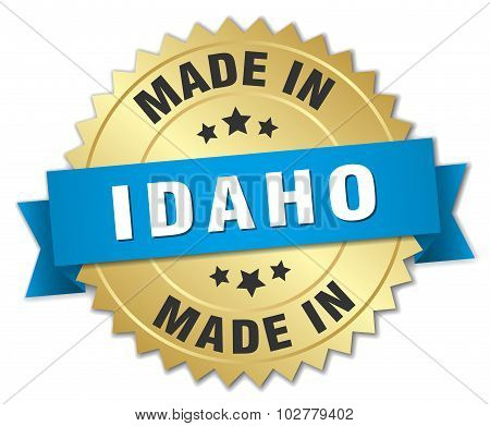 Made In Idaho Gold Badge With Blue Ribbon