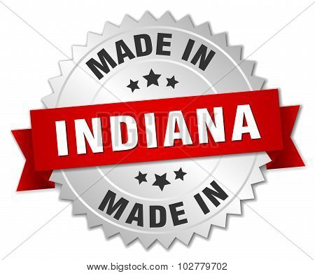 Made In Indiana Silver Badge With Red Ribbon