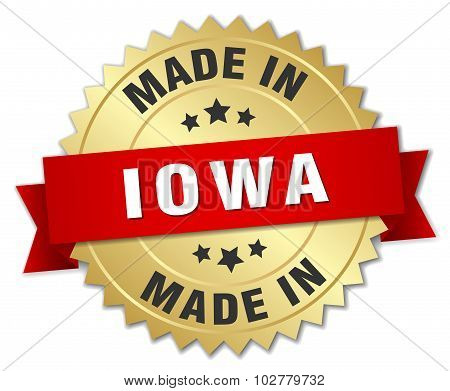 Made In Iowa Gold Badge With Red Ribbon