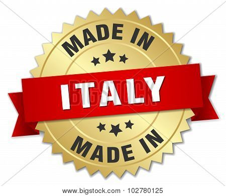 Made In Italy Gold Badge With Red Ribbon