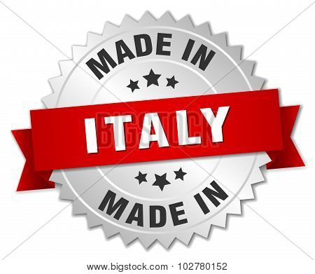 Made In Italy Silver Badge With Red Ribbon