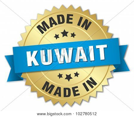 Made In Kuwait Gold Badge With Blue Ribbon