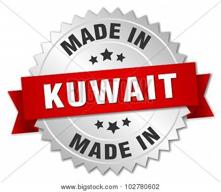 Made In Kuwait Silver Badge With Red Ribbon